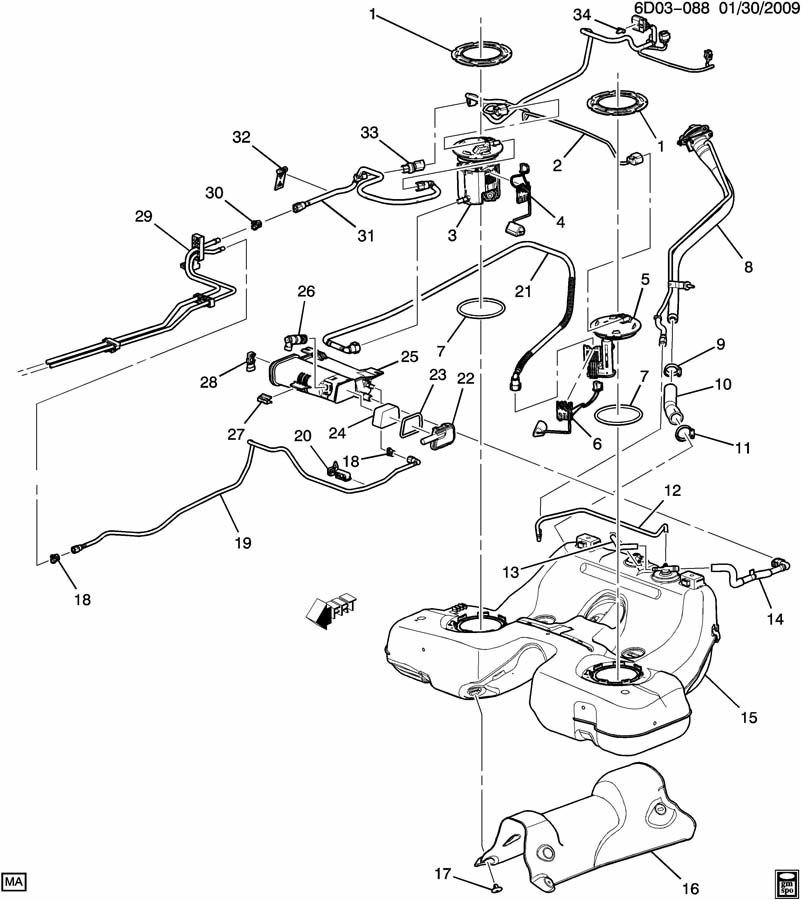 Loctation of VAPOR CANISTER for 2005 Cadillac CTS   Cadillac