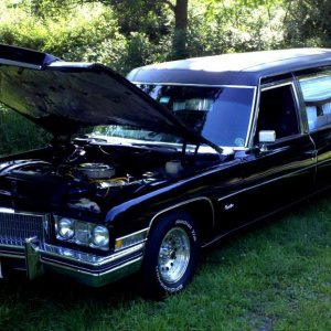 "1973 Cadillac Hearse by Superior Coach Works.  472 engine bored .030 over, MTS#10 cam kit, 10:1 ""squashed peanut"" pistons w/moly rings, head"