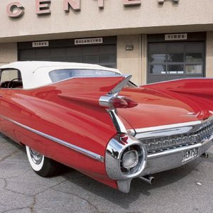 0510cr 02z+1959 Cadillac Series 62 Convertible+Rear Left Side View