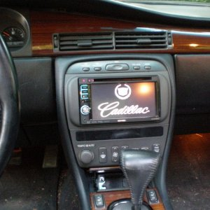 "Kenwood Double-Din dvd player install, with kenwood speakers all the way around, and a 12"" kenwood shallow mount sub custom mounted between the 6"