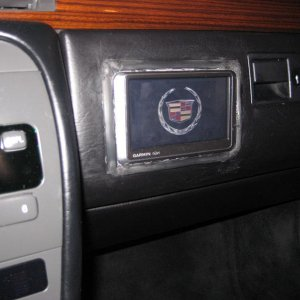 GPS Unit with Cadillac Logo at startup.  Trim has been added as well.