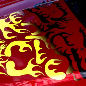 the finished decal  on car. Note it says CTS V  left to right and right to left. The letters are the flames.